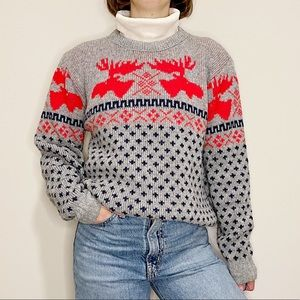 Vintage Gray Moose Patterned Chunky Knit Sweater L